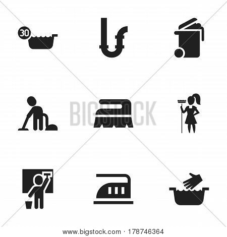 Set Of 9 Editable Dry-Cleaning Icons. Includes Symbols Such As Drainpipe, Cleaning Man, Iron And More. Can Be Used For Web, Mobile, UI And Infographic Design.