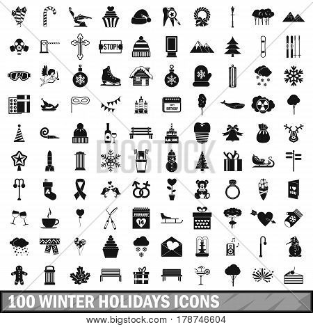 100 winter holidays icons set in simple style for any design vector illustration