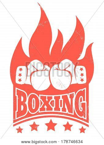 Vector vintage poster for boxing with gloves and fire. Vintage logo for boxing.