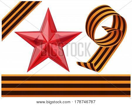 Glass Red Star and St. George Ribbons for Victory Day isolated on white background
