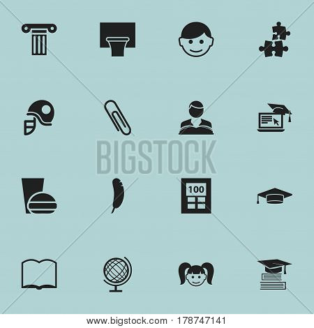 Set Of 16 Editable University Icons. Includes Symbols Such As Book, Graduate, Calculator And More. Can Be Used For Web, Mobile, UI And Infographic Design.
