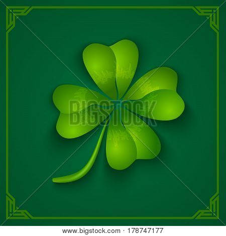 Vector green poster with clover for Patrick's day. 3D clover on green background.