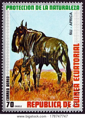 EQUATORIAL GUINEA - CIRCA 1974: a stamp printed in Equatorial Guinea shows Blue Wildebeest Connochaetes Taurinus Animal circa 1974