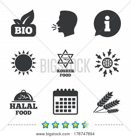 Natural Bio food icons. Halal and Kosher signs. Gluten free and star of David symbols. Information, go to web and calendar icons. Sun and loud speak symbol. Vector