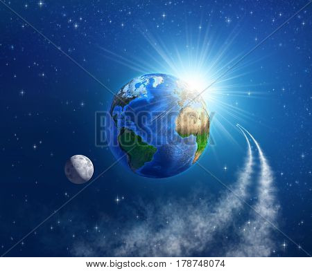 Spaceships entering in the orbit of planet Earth sunlight shining behind