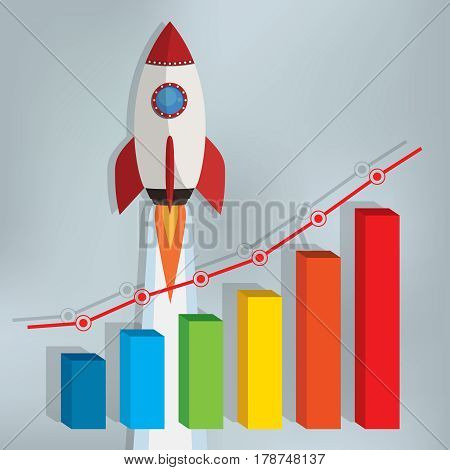 Business chart with a rocket going up on the gray background.