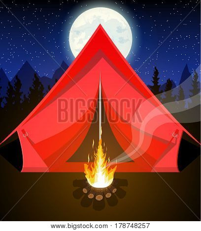 Meadow with camping in night. Tent, bonfire, mountains, trees, sky, moon and stars. Vector illustration in flat style