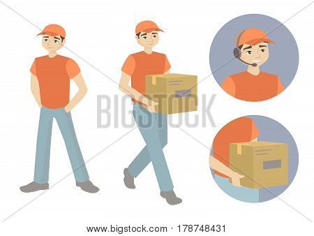 Warehouse, wholesale, services and delivery. Deliveryman. Art of the icon. Flat style illustration, isolated on white.