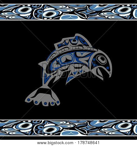 native salmon Vector fish in blue on black background with native ornaments