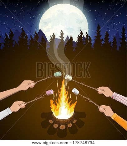 Bonfire and hands with marshmallow. Logs and fire. Camping, burning woodpile in night. Trees, sky, stars and moon. Vector illustration in flat style