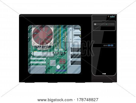 Desktop pc with window. Motherboard, hard drive, cpu, fan, graphic card, memory. Personal computer hardware. PC components inside case. Vector illustration in flat style