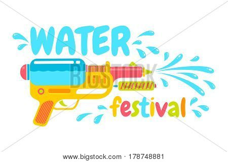 Vector logo for Songkran festival in Thailand. Logo for water festival with gun.