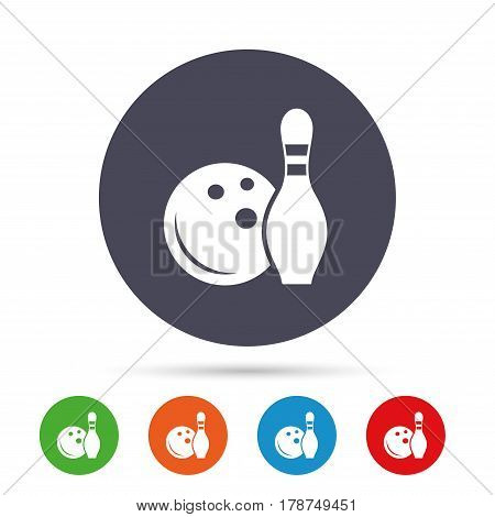 Bowling game sign icon. Ball with pin skittle symbol. Round colourful buttons with flat icons. Vector