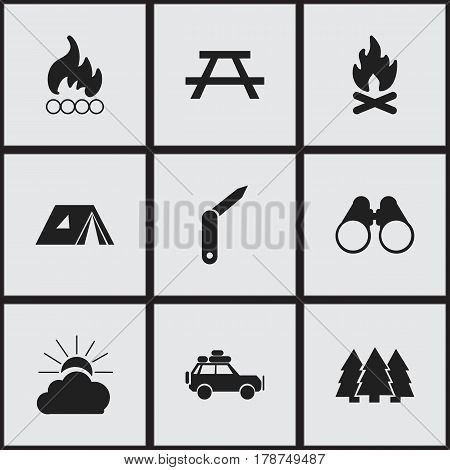 Set Of 9 Editable Trip Icons. Includes Symbols Such As Shelter, Clasp-Knife, Desk And More. Can Be Used For Web, Mobile, UI And Infographic Design.