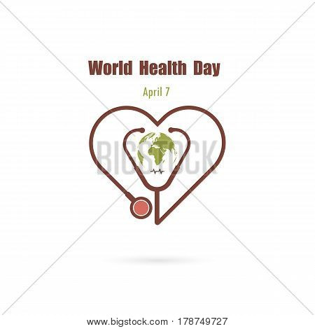 Globe sign and stethoscope icon with heart shape vector logo design template.World Health Day icon.World Health Day idea campaign concept for greeting card and poster.Vector illustration