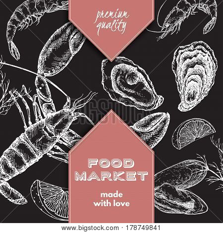 Food market label template with hand drawn sketch of lobster, oyster and mytilus. Great for store and packaging design.