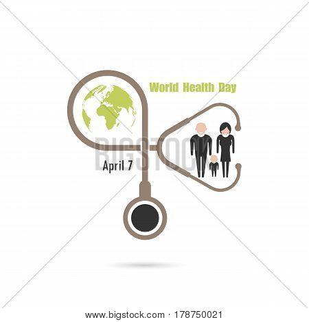 Globe signhuman icon and stethoscope vector logo design template.World Health Day icon.World Health Day idea campaign concept for greeting card and poster.Vector illustration