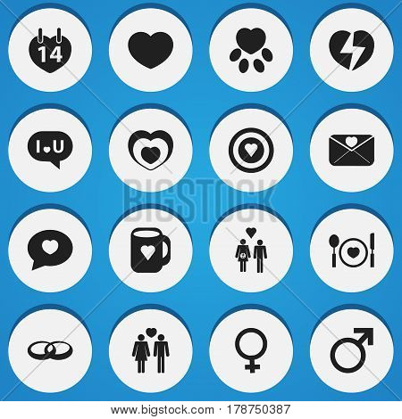 Set Of 16 Editable Love Icons. Includes Symbols Such As Family, Dartboard, Cutlery And More. Can Be Used For Web, Mobile, UI And Infographic Design.