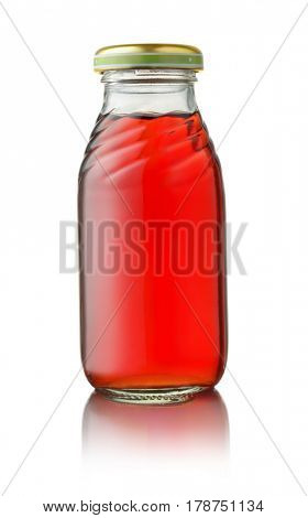 Front view of small glass juice bottle isolated on white