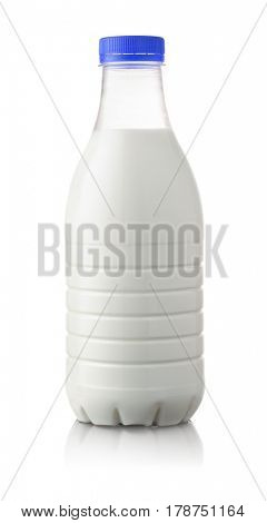 Plastic bottle of milk isolated on white