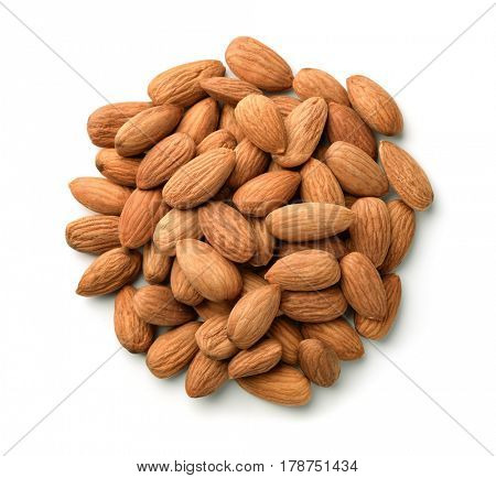 Top view of almonds heap isolated on white