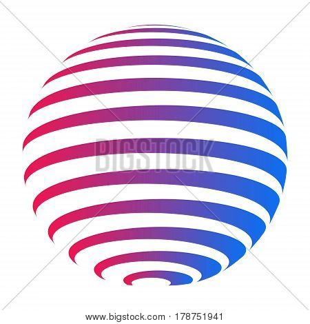 Company logo circle, sphere with horizontal stripes with a gradient from red to blue color, vector logo planet earth