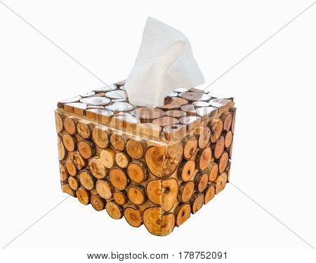 Wooden tissue box isolated on white background.