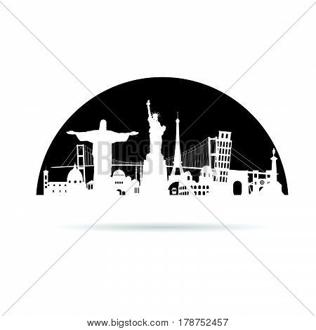Travel Symbol With Tourist Attraction Vector