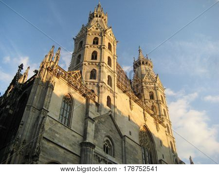 St. Stephen (Stephandsom) Cathedral in Vienna, Austria. Romanesque gothic architecture, roman catholic archdiocese of Vienna on early morning sun light