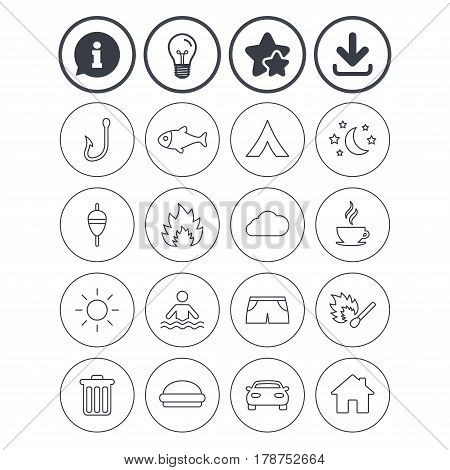 Information, light bulb and download signs. Camping and fishing icons. Tourist tent, fire and match symbols. Coffee cup and hamburger. Car and house. Fish, hook and float bobber thin outline signs