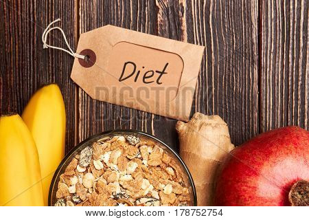Label, muisli and fruits. Healthy balance diet.