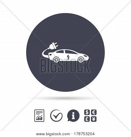 Electric car sign icon. Sedan saloon symbol. Electric vehicle transport. Report document, information and check tick icons. Currency exchange. Vector