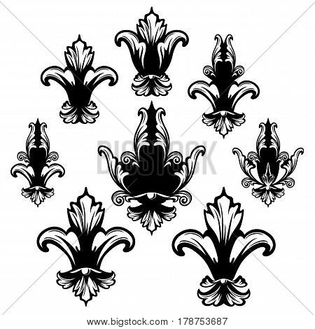 fleur de lis black and white vector heraldic design set