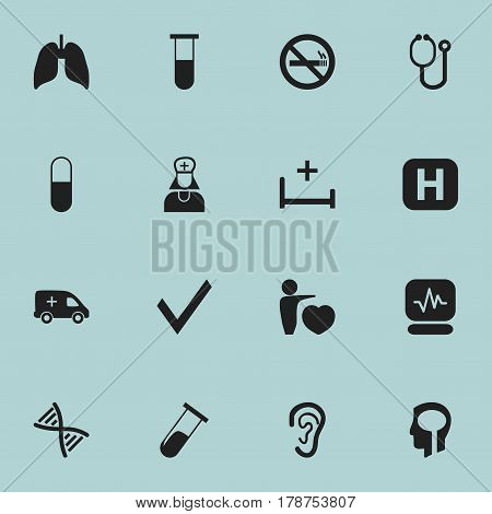 Set Of 16 Editable Clinic Icons. Includes Symbols Such As Mark, Hospital Assistant, Drug And More. Can Be Used For Web, Mobile, UI And Infographic Design.