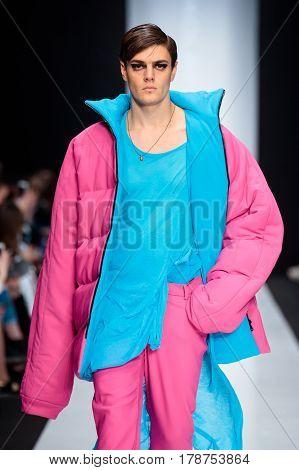 MOSCOW RUSSIA - MARCH 15 2017: Model walk runway for DESIGNER NIKOLAY LEGENDA catwalk at Fall-Winter 2017-2018 at Mercedes-Benz Fashion Week Russia. Men's fashion.