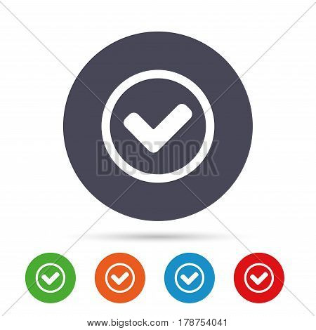 Check mark sign icon. Yes circle symbol. Confirm approved. Round colourful buttons with flat icons. Vector
