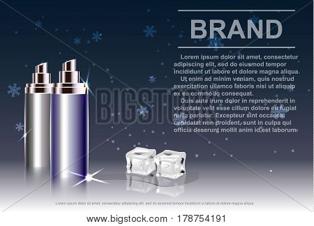 Cosmetic product, spray bottle, background with ice and falling snow.Vector illustration.