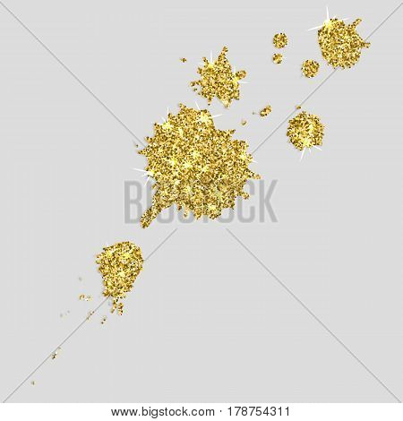 Blobs of gold paint on a white background. Vector illustration.
