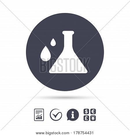 Chemistry sign icon. Bulb symbol with drops. Lab icon. Report document, information and check tick icons. Currency exchange. Vector