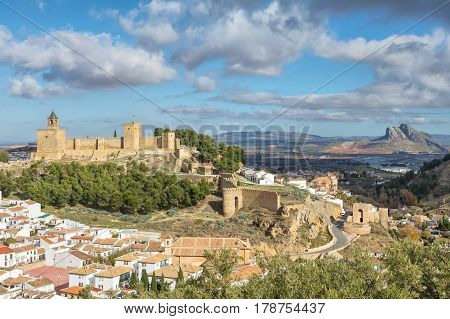 Cityscape of Antequera with moorish fortress Alcazaba Malaga province Andalusia Spain