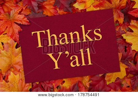 Thank You Greeting Card Some fall leaves and a greeting card with text Thanks Y'all