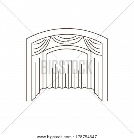 Theatrical scene in the style of the outline. A place to show performances of concerts and other events. Vector illustration.