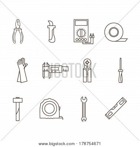 Tools electrician in the style of the outline. Vector illustration.