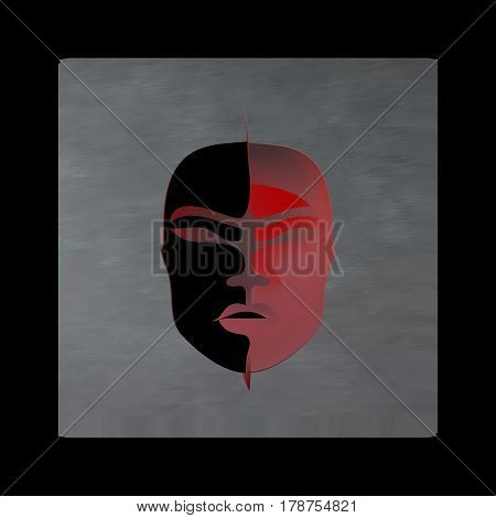 Vintage mystical picture woman in scarlet colors on black background. Burgundy silk drape flowing like blood.