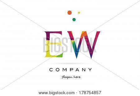 Ew E W  Creative Rainbow Colors Alphabet Letter Logo Icon