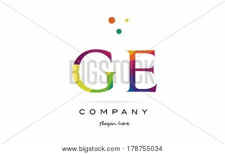 Ge G E  Creative Rainbow Colors Alphabet Letter Logo Icon
