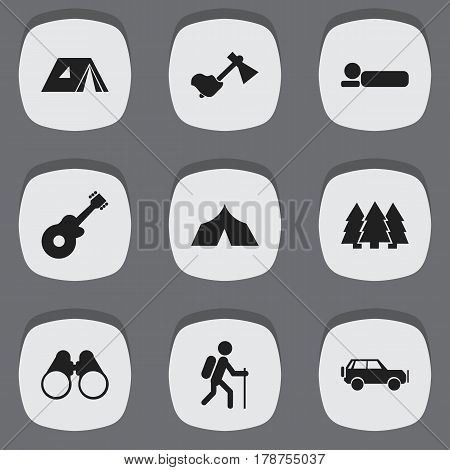 Set Of 9 Editable Camping Icons. Includes Symbols Such As Refuge, Gait, Bedroll And More. Can Be Used For Web, Mobile, UI And Infographic Design.