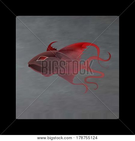 Vintage mystical picture fish in scarlet colors on black background. Burgundy silk drape flowing like blood.
