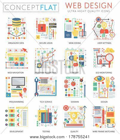 Infographics mini concept Web design icons and digital marketing for web. Premium quality color conceptual flat design web graphics icons. Web app design ui technology concepts