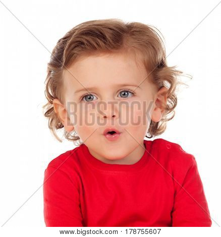 Adorable baby learning to speak isolated on a white background